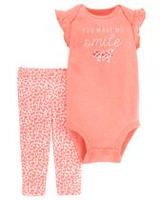 Child of Mine made by Carter's Infant Girls' Body Suit Pant Set- Smile 3-6 months