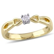 Miabella 0.10 Carat T.W. Diamond Yellow Rhodium-Plated Sterling Silver Bow Heart Promise Ring 8