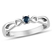 0.10 Carat T.W. Blue Diamond Sterling Silver Bow Heart Promise Ring 5