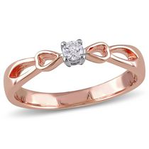 Miabella 0.10 Carat T.W Diamond Rose Rhodium-Plated Sterling Silver Bow Heart Promise Ring 9