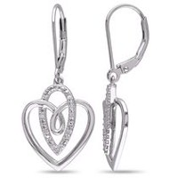 Miabella Diamond-Accent Sterling Silver Dangle Heart Earrings