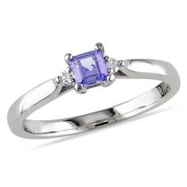 Tangelo 0.33 Carat T.G.W. Tanzanite and Diamond Accent Sterling Silver Ring 9