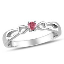 0.10 Carat T.W. Pink Diamond Sterling Silver Bow Heart Promise Ring 5
