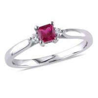 Tangelo 0.33 Carat T.G.W. Created Ruby and Diamond Accent Sterling Silver Ring 6