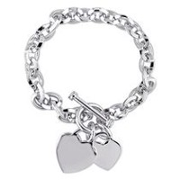 Sterling Silver Double Heart Charm Bracelet, 7.5""