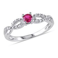 Tangelo 0.20 Carat T.G.W. Created Ruby and Diamond-Accent Sterling Silver Cross-Over Ring 6
