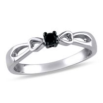 0.10 Carat T.W. Black Diamond Sterling Silver Bow Heart Promise Ring 7
