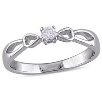 Miabella 0.10 Carat T.W. Diamond Sterling Silver Bow Heart Promise Ring 8