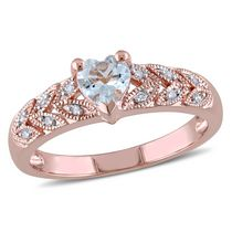 Tangelo 0.33 Carat T.G.W. Aquamarine and Diamond-Accent Rose Rhodium-Plated Sterling Silver Heart Ring 5