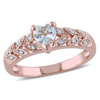 Tangelo 0.33 Carat T.G.W. Aquamarine and Diamond-Accent Rose Rhodium-Plated Sterling Silver Heart Ring 7