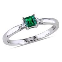 Tangelo 0.20 Carat T.G.W. Created Emerald and Diamond Accent Sterling Silver Ring 5