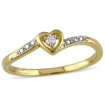 Miabella Diamond-Accent Yellow Rhodium-Plated Sterling Silver Heart Promise Ring 6