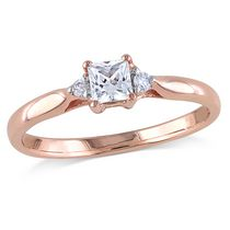 Miabella 0.33 Carat T.G.W. Created White Sapphire and Diamond-Accent Rose Rhodium-Plated Sterling Silver Promise Ring 8