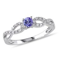 Tangelo 0.17 Carat T.G.W. Tanzanite and Diamond-Accent Sterling Silver Cross-Over Ring 7