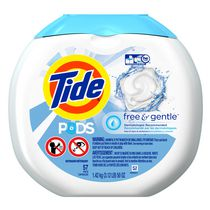 Tide Pods HE Laundry Detergent Pacs, Free & Gentle, 57 Count