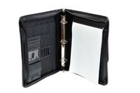 Champs Zippered Ring Padfolio with Sliding Handles and Carry Strap Black
