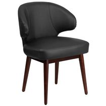 Comfort Back Series Black Leather Side Reception Chair with Walnut Legs
