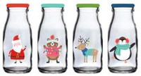 Holiday time Glass Milk Bottle