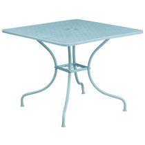 35.5'' Square Coral Indoor-Outdoor Steel Patio Table