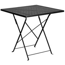 28'' Square Gold Indoor-Outdoor Steel Folding Patio Table