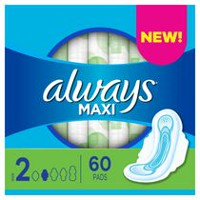 Always Maxi Size 2 Long Super Pads with Wings, Unscented
