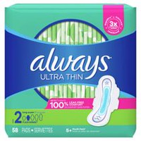 Always Ultra Thin Size 2 Super Pads With Wings, Unscented