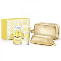 Versace Yellow Diamond 90 ml Edt Spr + 100 ml Body Lotion + Gold Cosmetic Trousee -Set For Women