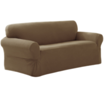 Pixel Slipcover Loveseat Brown/tan