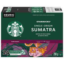 Starbucks® Sumatra Café d'Origine Unique Café Moulu Torréfaction Foncée K-Cups® Capsules 24 unités