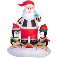 Airblown Self-Inflatable Santa & Penguins Hockey Scene