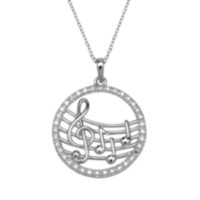 Sterling Silver Musical Notes Pendant with Diamond Accent