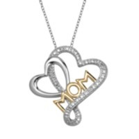 "Sterling Silver Two-Toned Double Heart ""MOM"" Pendant with Diamond Accent"