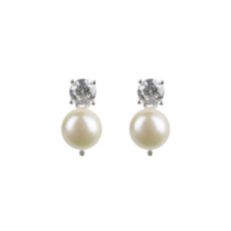 Sterling Silver Earrings with 3mm Freshwater Pearl and 5mm Cubic Zirconia