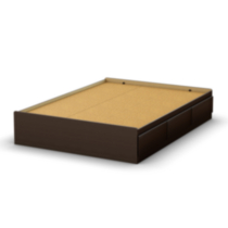 South Shore Twin/Double Chocolate Brown Bed Storage Collection