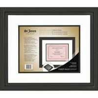 St. James Awards & Certificate Frame, Florentine Black with Double Mat White/Black, 17 1/2 x 14 3/4""