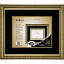 St. James Awards & Certificate Frame, Florentine Gold with Double Mat Black/Gold,  17 1/2 x 14 3/4""