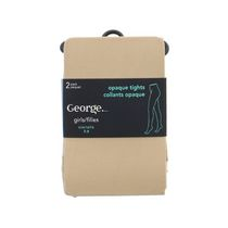 George Girls' Fashion Tights, Pack of 2 Beige 7-9