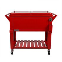 Permasteel Furniture Style Patio Cooler 80QT - Red