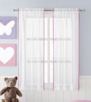 Mainstays Kids Pom Pom Sheer Rod Pocket Panels PINK