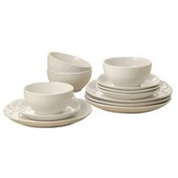 Mainstays 12-Piece Square Dinner Set Ivory/Cream
