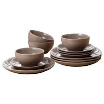 Mainstays 12-Piece Square Dinner Set Taupe