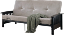 DHP Neo Espresso Wooden Arm Futon Frame & Mattress