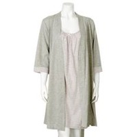 George Women's Night Gown and Robe 2-Piece Set Gray L