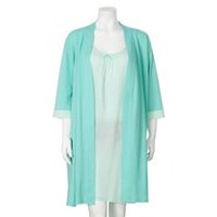 George Women's Night Gown and Robe 2-Piece Set Green M