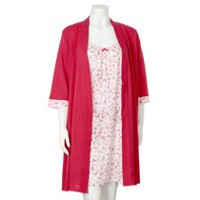 George Women's Night Gown and Robe 2-Piece Set Pink L