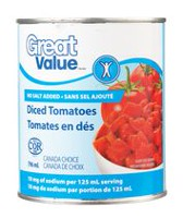 Tomates en dés sans sel ajouté de Great Value