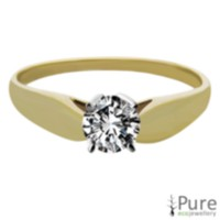 0.20 ct - Round Brilliant Diamond Solitaire Ring Yellow Gold 6.5