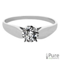 0.30 ct Round Brilliant Diamond Solitaire Ring White Gold 6