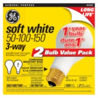GE 50/100/150W Soft White Long Life 3-way, 2pk