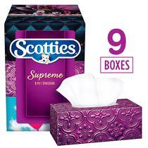 Papiers-mouchoirs Scotties Supreme à 3 épaisseurs, hypoallergéniques et approuvés par les dermatologues, 9boîtes, 88papiers-mouchoirs par boîte